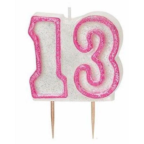 13th Birthday Pink Glitz Candle