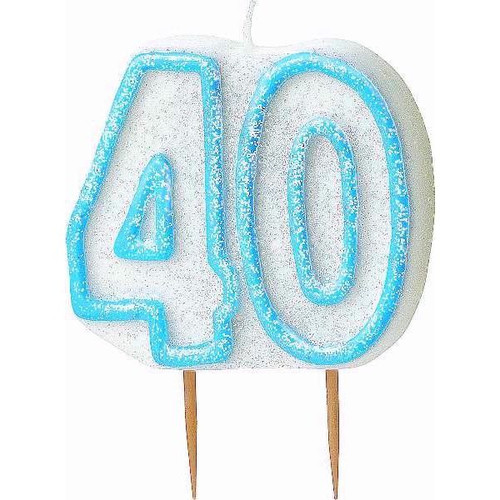40th Birthday Blue Glitz Candle