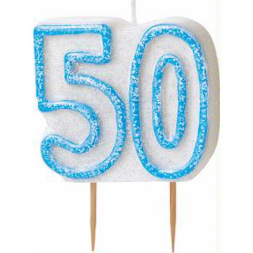 50th Birthday Blue Glitz Candle