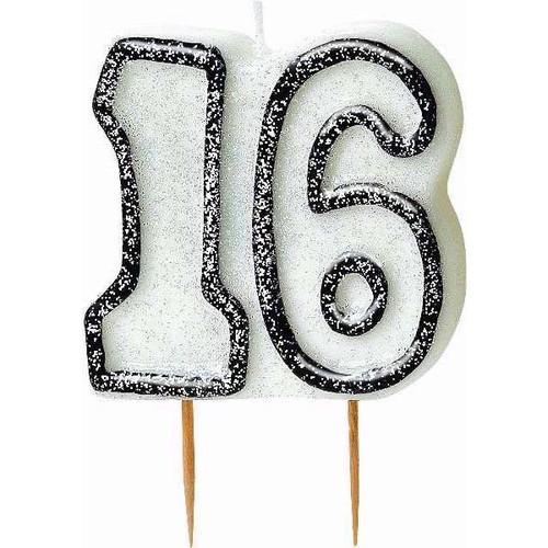 16th Birthday Black Glitz Candle
