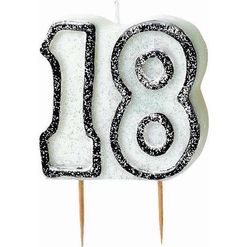 18th Birthday Black Glitz Candle