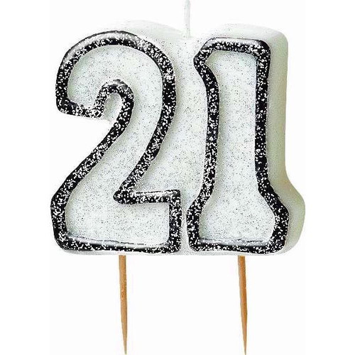 21st Birthday Black Glitz Candle
