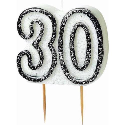 30th Birthday Black Glitz Candle