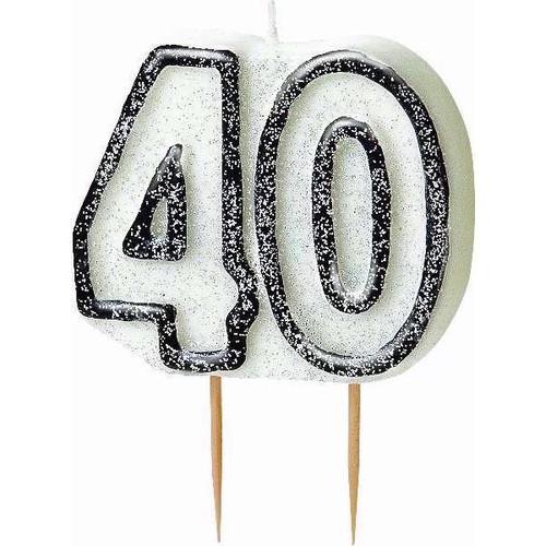 40th Birthday Black Glitz Candle