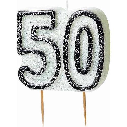 50th Birthday Black Glitz Candle