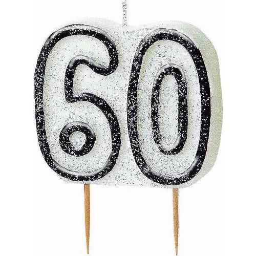 60th Birthday Black Glitz Candle
