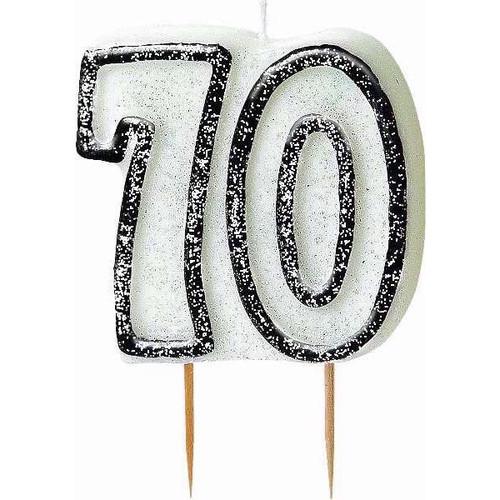 70th Birthday Black Glitz Candle