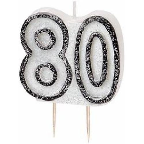 80th Birthday Black Glitz Candle