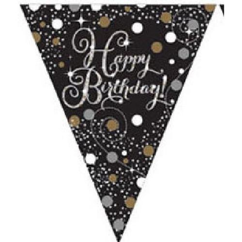 Happy Birthday Gold Sparkles Pennant Banner