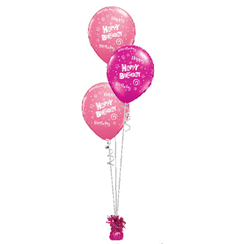 3 Balloon Latex Bouquet With Foil Weight