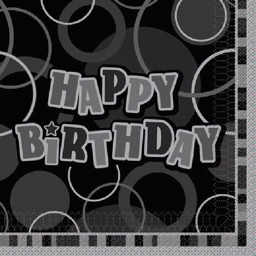 Happy Birthday Black Glitz Napkins