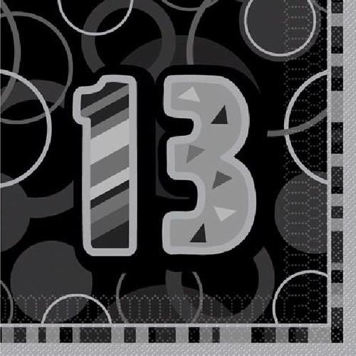 13th Birthday Black Glitz Napkins