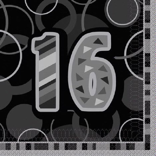 16th Birthday Black Glitz Napkins