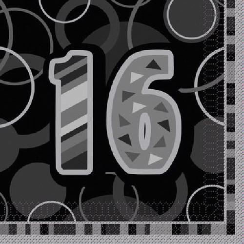 16th Birthday Black Glitz Napkins