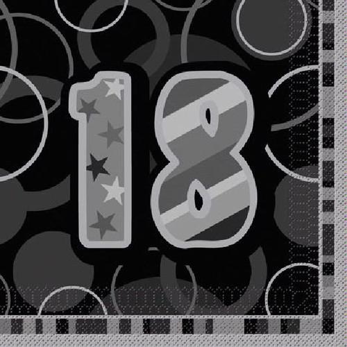 18th Birthday Black Glitz Napkins