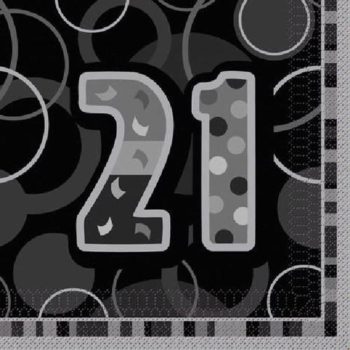 21st Birthday Black Glitz Napkins