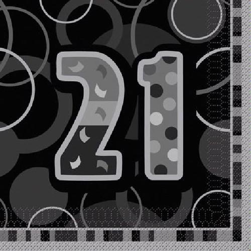 21st Birthday Black Glitz Napkins