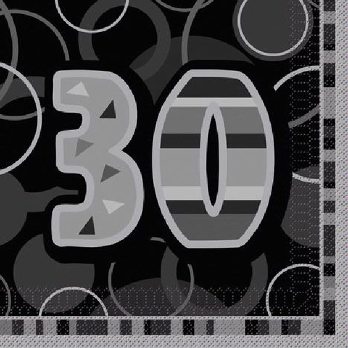 30th Birthday Black Glitz Napkins