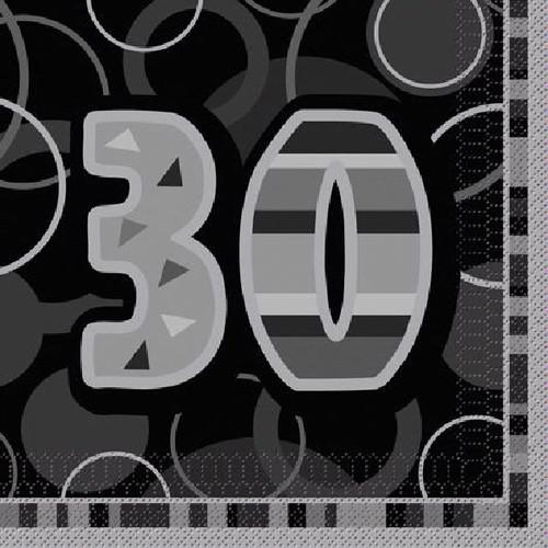 30th Birthday Black Glitz Napkins