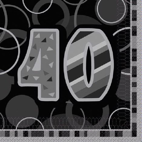 40th Birthday Black Glitz Napkins