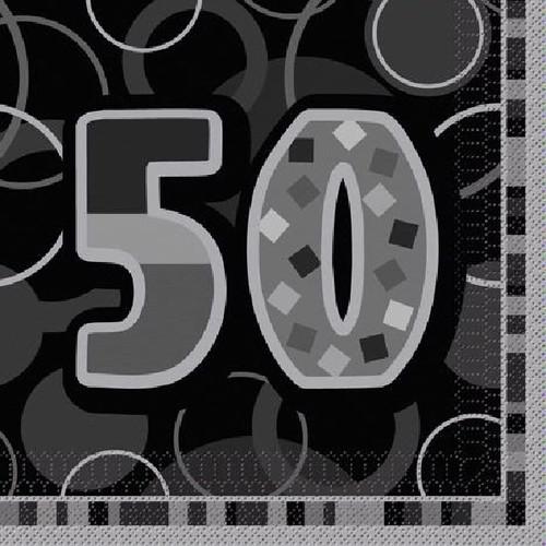 50th Birthday Black Glitz Napkins