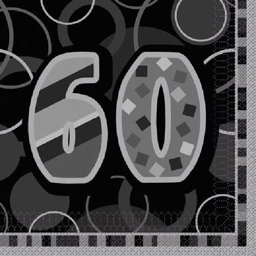 60th Birthday Black Glitz Napkins