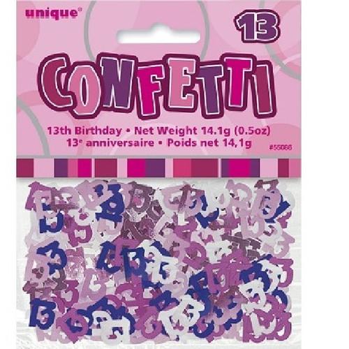 13th Birthday Pink Glitz Foil Confetti