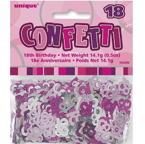 18th Birthday Pink Glitz Foil Confetti