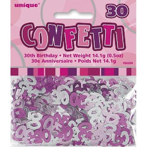 30th Birthday Pink Glitz Foil Confetti