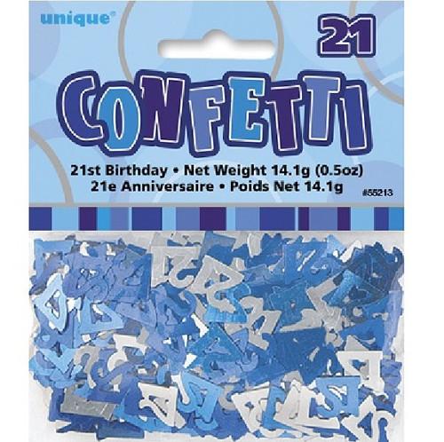 21st Birthday Blue Glitz Foil Confetti