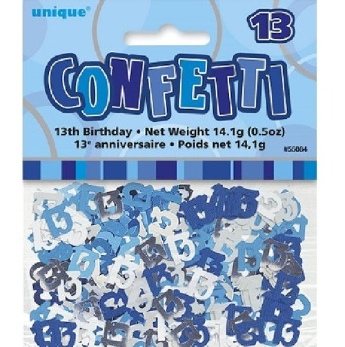 13th Birthday Blue Glitz Foil Confetti