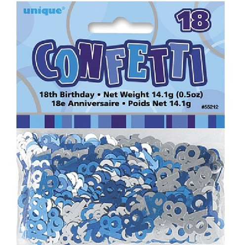 18th Birthday Blue Glitz Foil Confetti