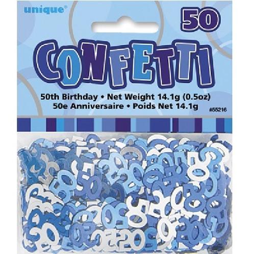 50th Birthday Blue Glitz Foil Confetti