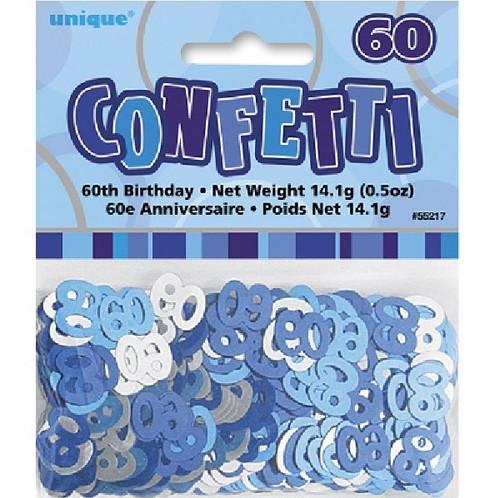 60th Birthday Blue Glitz Foil Confetti
