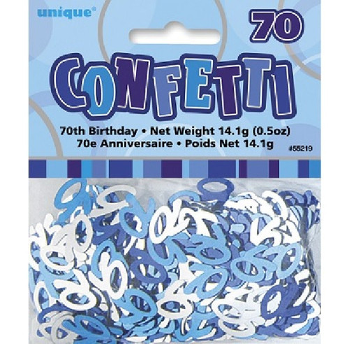 70th Birthday Blue Glitz Foil Confetti