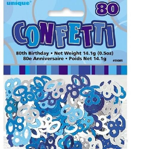 80th Birthday Blue Glitz Foil Confetti