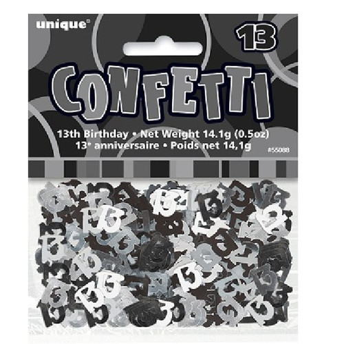 13th Birthday Black Glitz Foil Confetti
