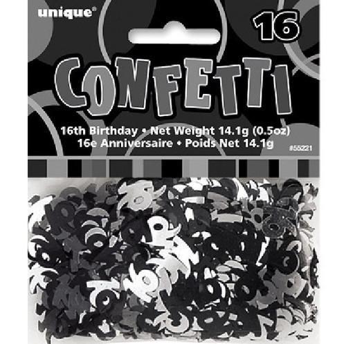 16th Birthday Black Glitz Foil Confetti