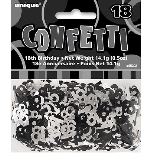 18th Birthday Black Glitz Foil Confetti