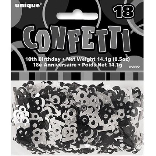 18th Birthday Black Glitz Foil Confetti