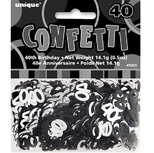 40th Birthday Black Glitz Foil Confetti