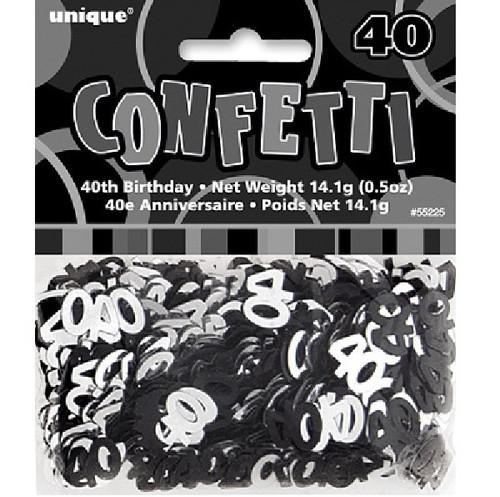 40th Birthday Black Glitz Foil Confetti