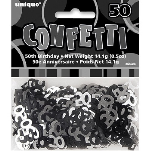 50th Birthday Black Glitz Foil Confetti