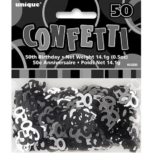 50th Birthday Black Glitz Foil Confetti