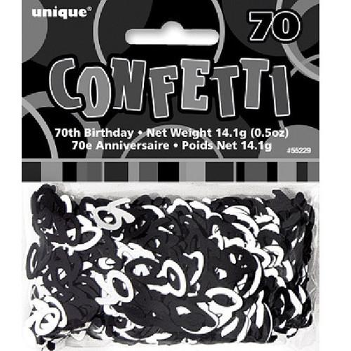 70th Birthday Black Glitz Foil Confetti