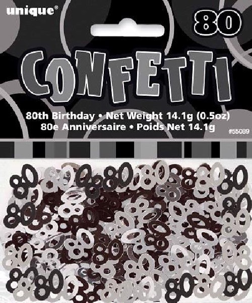 80th Birthday Black Glitz Foil Confetti