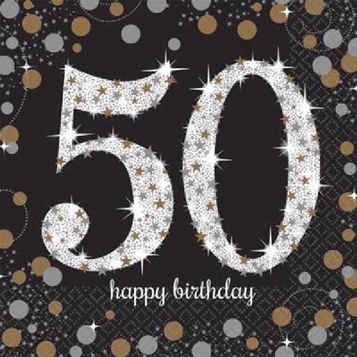 50th Birthday Gold Sparkles Napkins