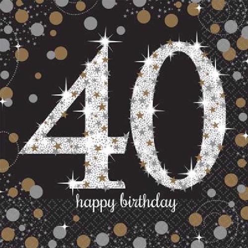40th Birthday Gold Sparkles Napkins