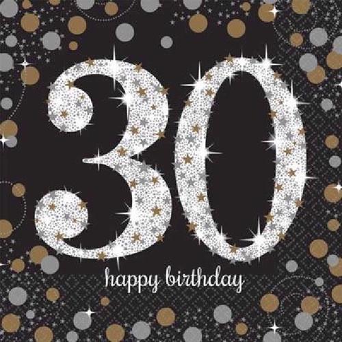30th Birthday Gold Sparkles Napkins