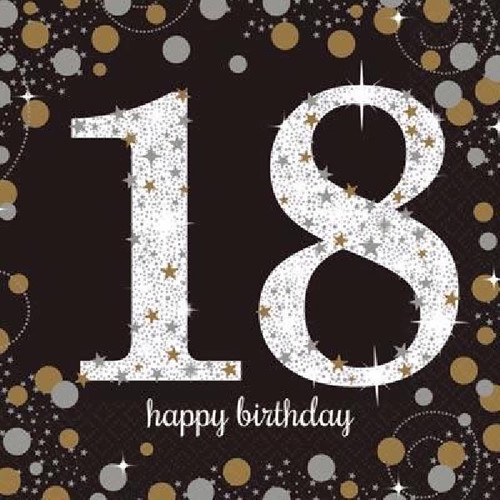 18th Birthday Gold Sparkles Napkins